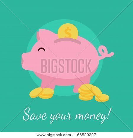 Piggybank symbol icon save money bank concept cash flat vector stock