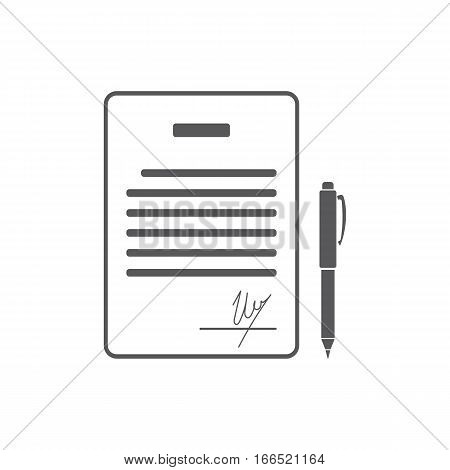 Business contract with signature. Agreement, pact, accord, convention symbol. Flat Vector illustration