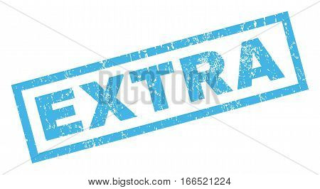Extra text rubber seal stamp watermark. Tag inside rectangular shape with grunge design and dirty texture. Inclined vector blue ink sticker on a white background.