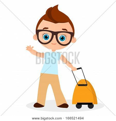 Young Boy with glasses and packsack travel. Travelling with the knapsack. Vector illustration eps 10 isolated on white background. Flat cartoon style