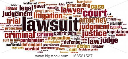 Lawsuit word cloud concept. Vector illustration on white