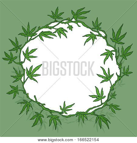 marijuana wreath isolated on a green background. hand drawn color vector illustration of the weed
