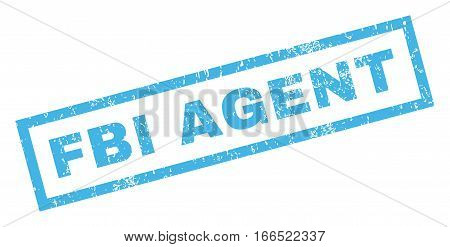 FBI Agent text rubber seal stamp watermark. Tag inside rectangular banner with grunge design and unclean texture. Inclined vector blue ink emblem on a white background.