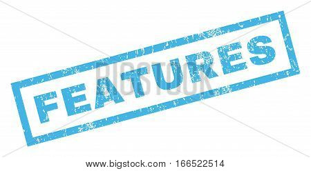 Features text rubber seal stamp watermark. Tag inside rectangular shape with grunge design and dirty texture. Inclined vector blue ink emblem on a white background.