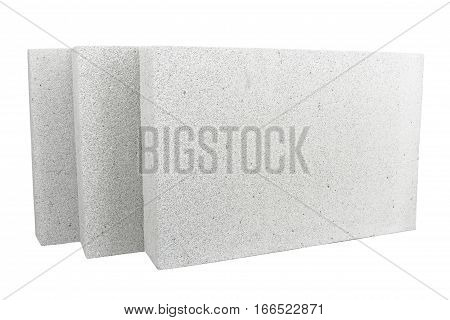 Lightweight foamed gypsum block isolated on white.