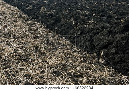 View of a plowed and unploughed soil at autumn field