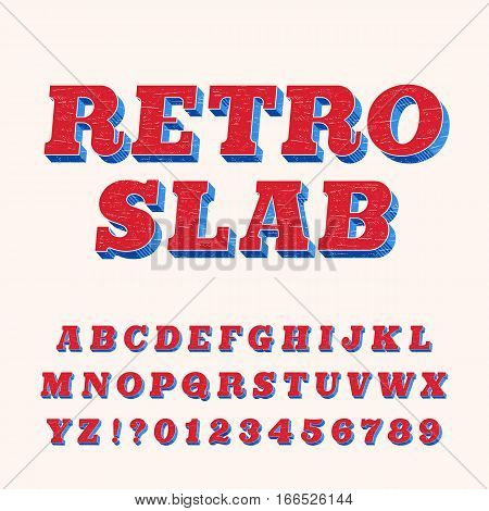 Rough vintage slab serif alphabet font. Distressed oblique letters for labels, headlines, posters etc. Retro stock vector typography.