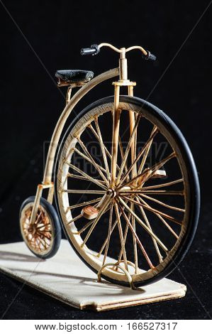 Wooden Miniature Of Penny-farthing Bicycle