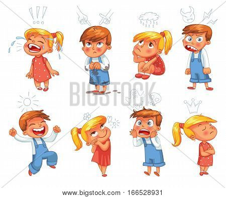 Basic emotions. Mad, Sad, Glad, Scared, Love. Funny cartoon character. Vector illustration. Isolated on white background