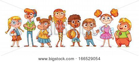 Cute variety of children standing in a row. Vector illustration. Funny cartoon character. Isolated on white background