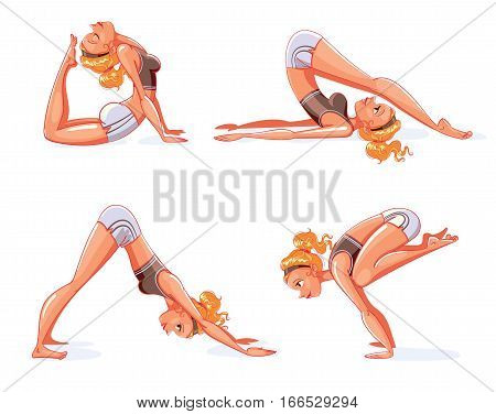 Rajakapotasana, Halasana (Plow Pose), Adho Mukha Svanasana (downward-facing dog Pose), Bakasana (Crane Pose). The girl is engaged in yoga. Funny cartoon character. Vector illustration. Isolated