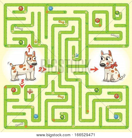 Help the dog to find the right way and to reunite with his girlfriend. Maze Game with Solution. Tangled lines. Funny cartoon character. Vector illustration