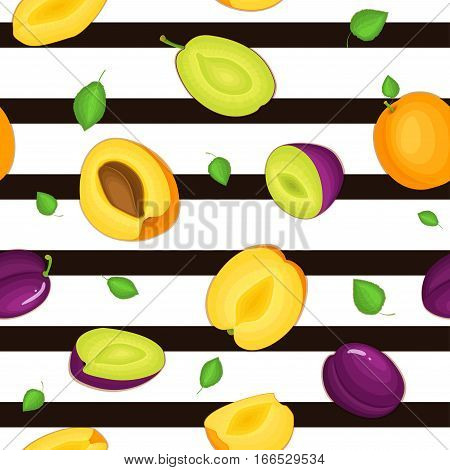 Seamless vector pattern of ripe plum apricot fruit. Striped background with delicious juicy plums apricots whole leaf slice half. Vector fresh fruit Illustration for printing on fabric, textile design
