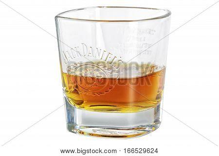 Russia Ekaterinburg - January 24 2017: Glassof Jack Daniels bourbon whiskey isolated on white background.