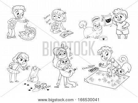 Boy teasing cat. Little kitten fell asleep in lap of owner. Fat cat begging for feed. Girl scolding pet for disobedience and broken things. Boy and cat together paint picture. Funny cartoon character