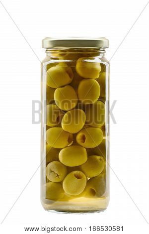 Green olives in a glass jar isolated on white background
