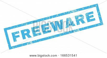 Freeware text rubber seal stamp watermark. Tag inside rectangular shape with grunge design and dust texture. Inclined vector blue ink sign on a white background.