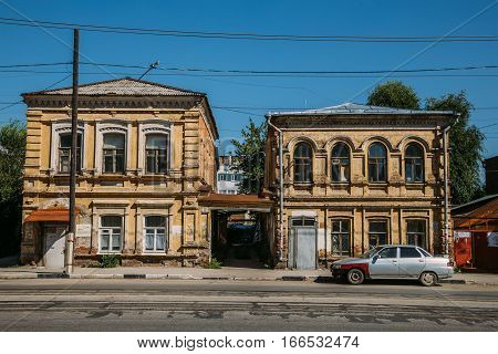 Old historical two-storied merchant houses in Samara
