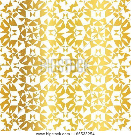 Vector Golden On White Abstract Kaleidoscope Triangles Grunge Foil Texture Seamless Pattern Background. Great for elegant gold fabric, cards, wedding invitations, wallpaper, floor, kitchen tile. Surface pattern design.