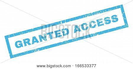 Granted Access text rubber seal stamp watermark. Tag inside rectangular banner with grunge design and unclean texture. Inclined vector blue ink sign on a white background.