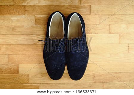 Stylish Elegant Blue Shoes On Wooden Background, Groom Getting Ready In The Morning