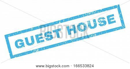Guest House text rubber seal stamp watermark. Tag inside rectangular banner with grunge design and scratched texture. Inclined vector blue ink emblem on a white background.