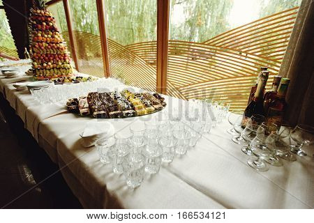 Stylish Luxury Decorated Tables For The Celebration For A Wedding Of Happy Couple, Cathering In The