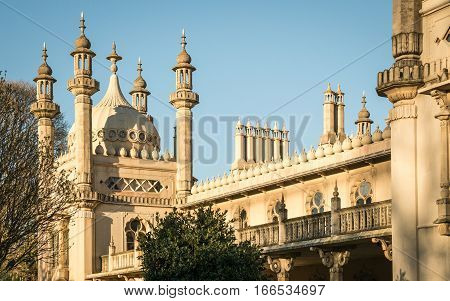 BRIGHTON, UK - 23 APRIL 2015: Close detail of the facade of the famous Royal Pavilion landmark in the seaside town of Brighton on the south England coast.