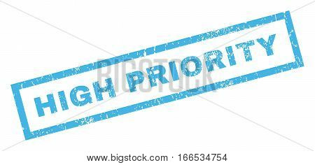 High Priority text rubber seal stamp watermark. Caption inside rectangular banner with grunge design and scratched texture. Inclined vector blue ink sign on a white background.
