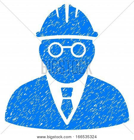 Clever Engineer grainy textured icon for overlay watermark stamps. Flat symbol with scratched texture. Dotted vector blue ink rubber seal stamp with grunge design on a white background.