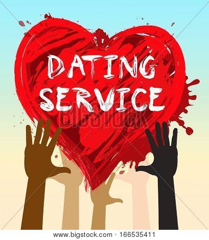 Dating Service Shows Online Love 3D Illustration