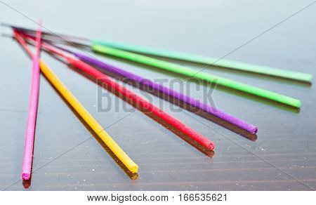 Beautiful colorful Thai incense sticks to psychotherapy.