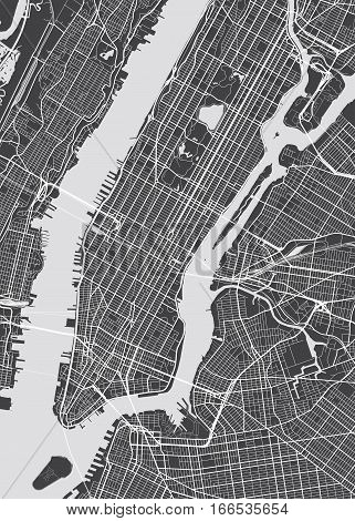 Vector detailed map New York view from above