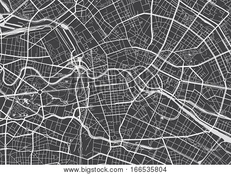 Vector detailed map Berlin view from above