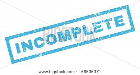 Incomplete text rubber seal stamp watermark. Tag inside rectangular banner with grunge design and dust texture. Inclined vector blue ink sign on a white background.