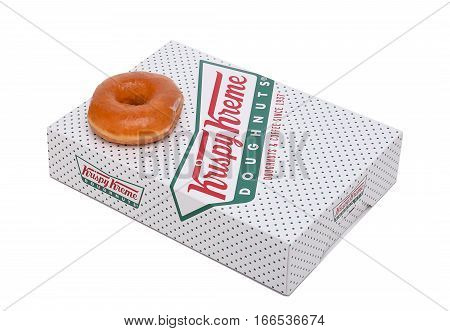 IRVINE CALIFORNIA - JANUARY 24 2016: Krispy Kreme Doughnut Box. Krispy Kreme Doughnuts is a global doughnut company and coffeehouse chain.