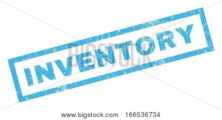Inventory text rubber seal stamp watermark. Tag inside rectangular banner with grunge design and unclean texture. Inclined vector blue ink sticker on a white background.
