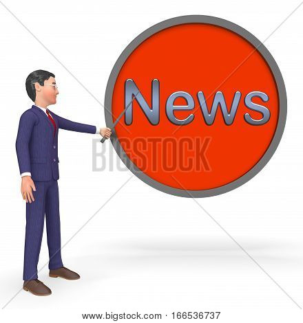 News Sign Displays Reporting Media 3D Rendering