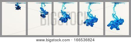 Sequence of five panels showing blue ink flowing through water