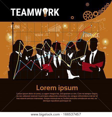 Businesspeople Group Team Brainstorm Teamwork Business Plan Strategy Concept Startup Development Banner Vector Illustration