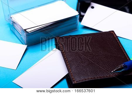 Stationery For Office: Hole Puncher, Box With Blanks, Wallet, Pen