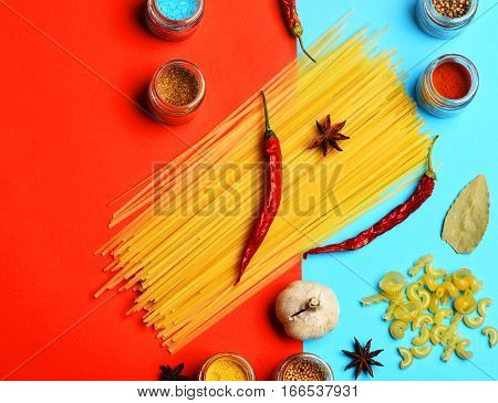 Cooking Pasta, Spice, Chili Pepper, Garlic And Badian