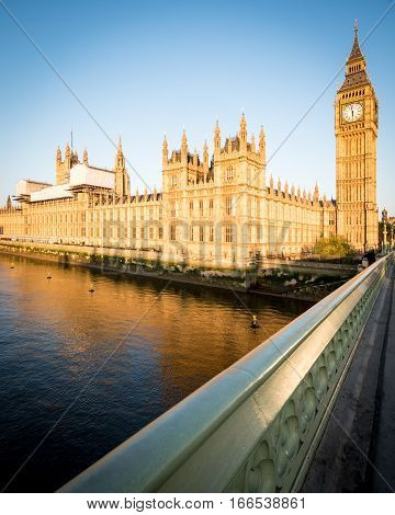 Early Morning London:  Houses Of Parliament, Westminster Bridge And Big Ben