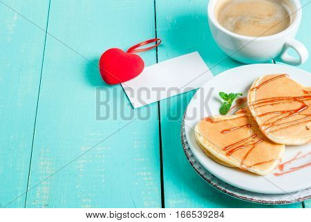 Valentine's Breakfast With Pancakes