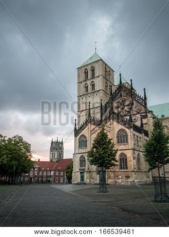 Munster Cathedral And Domplatz, Westphalia, Germany