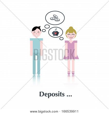 Family . Vector people icon, pictogram.Concept of family relationships, deposits, heart , love, speech bubble, couple, coins , piggy bank, over white with text Deposits, in flat stile