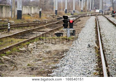 The red semaphore signal on the railway