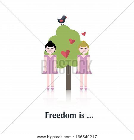 Two lesbian .Vector people icon, pictogram.Concept free relationships, lesbians, pink, tree, red heart , over white with text Freedom is, in flat stile