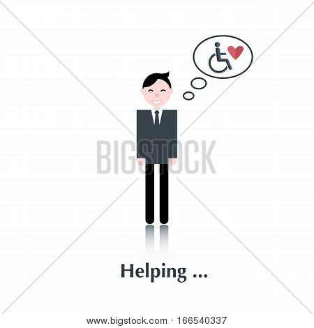 Volunteer man.Vector male people icon, pictogram.Concept relationship from disabled people, help disabled people, heart, over white with text Helping, in flat style
