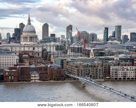 St. Paul's Cathedral, The Millenium Bridge And The River Thames, London